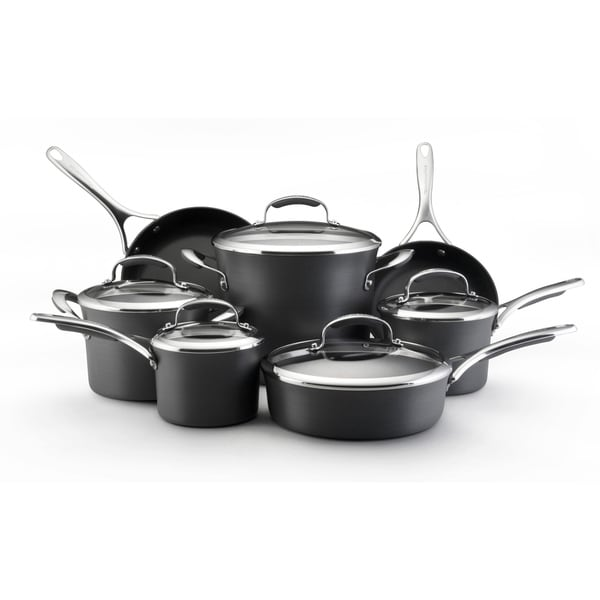 KitchenAid Gourmet Hard-anodized Nonstick 12-piece Grey Cookware Set