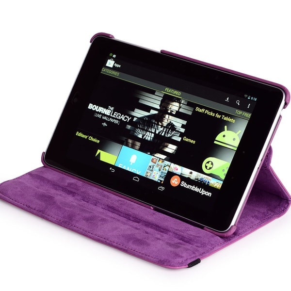 Kroo Nexus 7 Napa Leather Rotation Case with Bonus Anti-glare Screen Protector