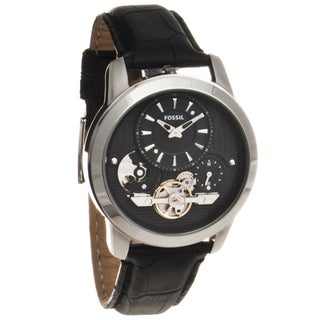 Fossil Men's 'Grant' Twist Automatic Leather Strap Watch