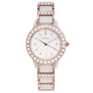 Fossil Women's 'Jesse' Ceramic and Goldtone Glitz Watch