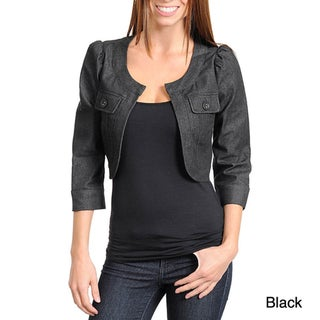 Stanzino Women's Quarter Sleeve Open Front Denim Jacket