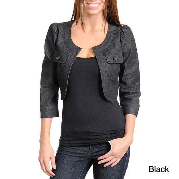 Stanzino Women's Quarter Sleeve Open Front Denim Jacket