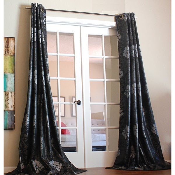 Black/Silver Damask 96-inch Curtain Panel
