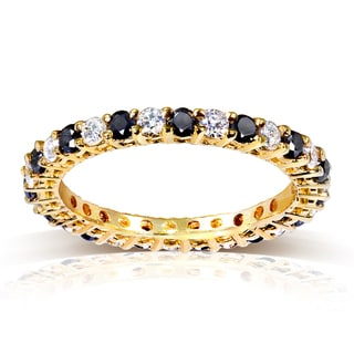 Annello 14k Yellow Gold 1ct TDW Black and White Diamond Eternity Ring (G-H, I1-I2)