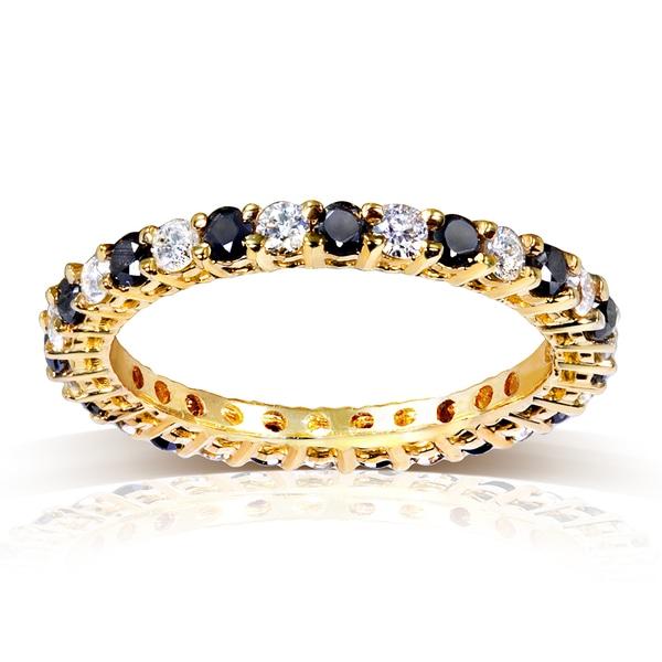 Annello 14k Yellow Gold 1ct TDW Black and White Diamond Ring (G-H, I1-I2)