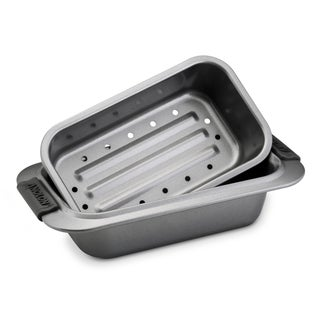Anolon Advanced Bakeware 2-piece Set: 9-inch by 5-inch Loaf Pan and 1 Drip Pan Insert, Grey