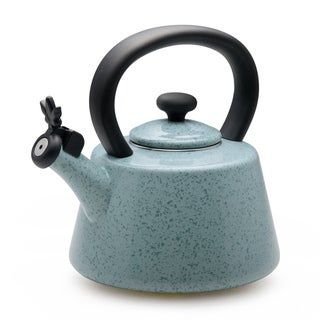 Paula Deen Signature Teakettles 2-quart Flower Whistling Teakettle, Aqua Speckle
