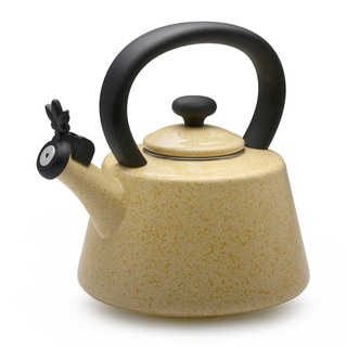 Paula Deen Signature Speckled Butter Yellow Flower Whistling 2-quart Tea Kettle