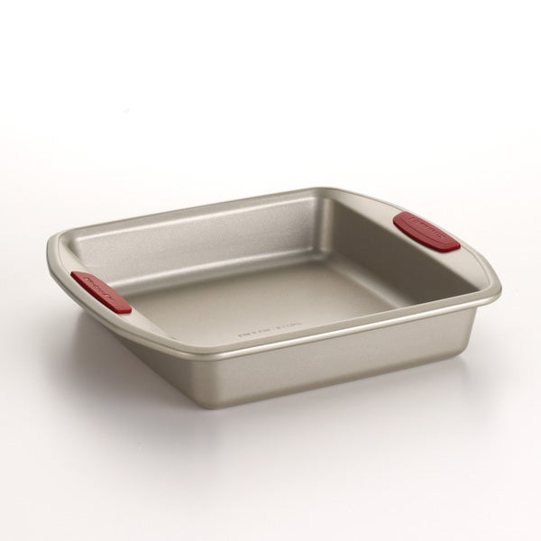 KitchenAid Gourmet Bakeware 9-Inch Square Cake Pan with Silicone Red Grips