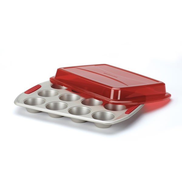 KitchenAid Gourmet Bakeware 12 Cup Covered Muffin Pan with Red Silicone Grips