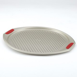 KitchenAid Gourmet Bakeware 13-Inch Pizza Crisper Pan with Red Silicone Grips