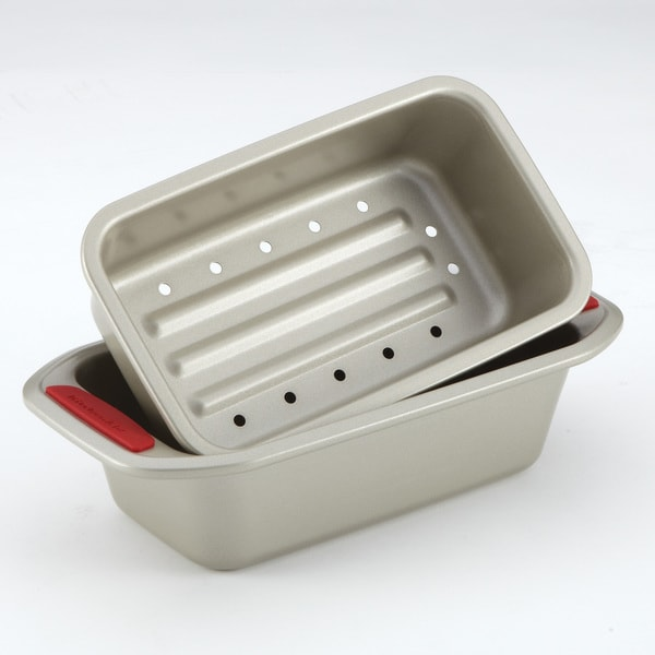 KitchenAid Gourmet Bakeware 2 Piece Meatloaf Pan Set with Red Silicone Grips