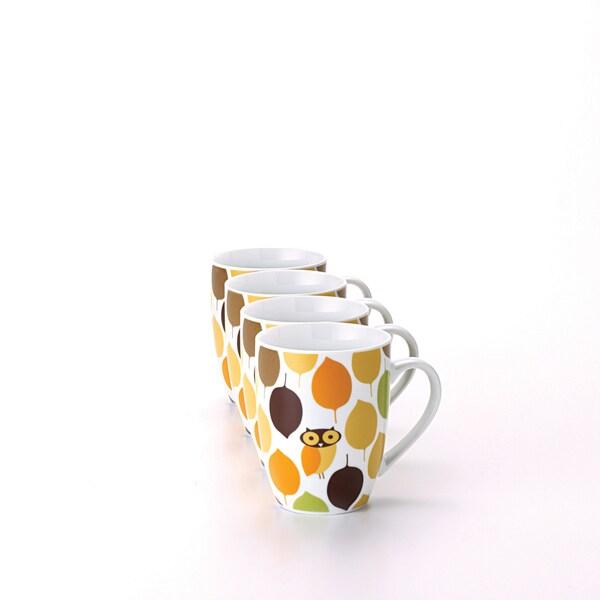 Rachael Ray Dinnerware Little Hoot 4-piece Mug Set 11-ounce