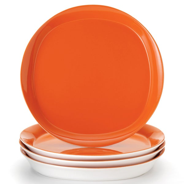 ray 39 round and square 39 4 piece tangerine dinner plate dinnerware set