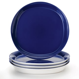 Rachael Ray 'Round and Square' 4-piece Blue Raspberry Dinner Plate Set