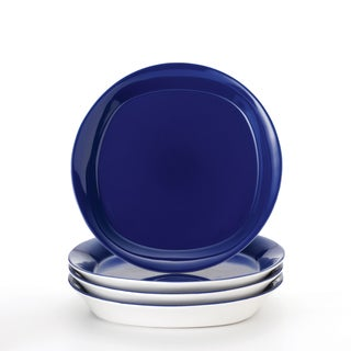 Rachael Ray 'Round and Square' 4-piece Blue Raspberry Salad Plate Set