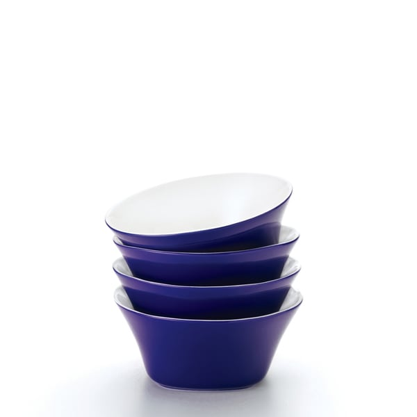 Rachael Ray 'Round and Square' 4-piece Blue Raspberry Cereal Bowl Set