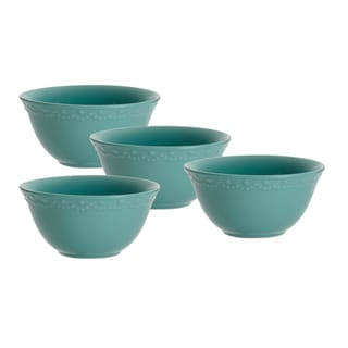 Paula Deen Whitaker Aqua 6-inch Cereal Bowls (Set of 4)