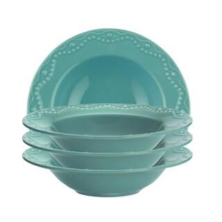 Paula Deen Whitaker Aqua 9-inch Soup Bowls (Set of 4)