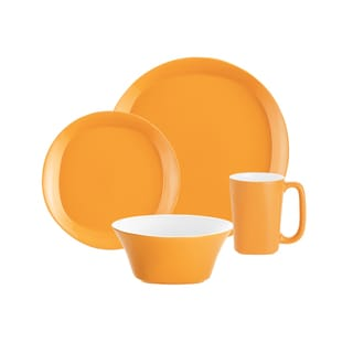 Rachael Ray Round & Square Lemon Zest 4-piece Dinnerware Set