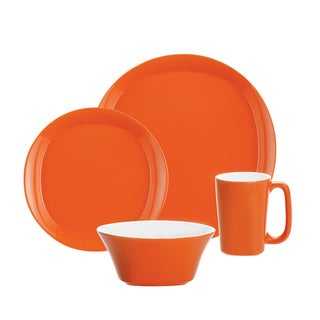 Rachael Ray Round & Square Orange 4-piece Dinnerware Set