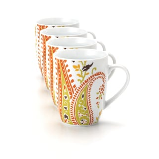 Rachael Ray Dinnerware Paisley 4-piece Mug Set 11-ounce