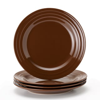 Rachael Ray Double Ridge 11-inch Cocoa Dinner Plates (Set of 4)