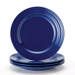 Rachael Ray Double Ridge 11-inch Blue Dinner Plates (Set of 4)
