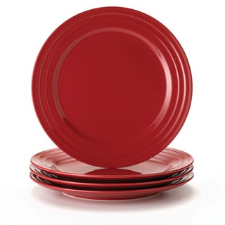 Rachael Ray Double Ridge Red 11-inch Dinner Plates (Set of 4)