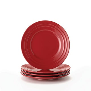 Rachael Ray Double Ridge Red 8-inch Salad Plates (Set of 4)