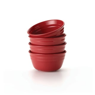 Rachael Ray Double Ridge Red 6-inch Cereal Bowls (Set of 4)