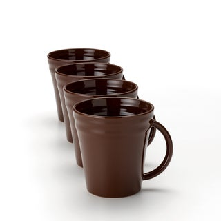 Rachael Ray Double Ridge 12-ounce Brown Mugs (Set of 4)