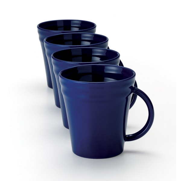 Rachael Ray Double Ridge 12-ounce Blue Mugs (Set of 4)