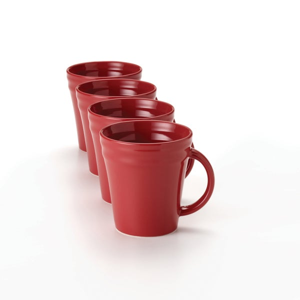 Rachael Ray Double Ridge 12-ounce Red Mugs (Set of 4)