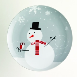 Rachael Ray Little Hoot Snowman 8-inch Dessert Plates (Set of 4)
