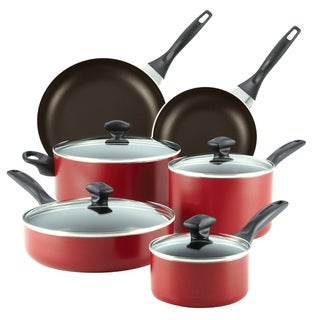Farberware Dishwasher Safe Nonstick 14-piece Set, Red