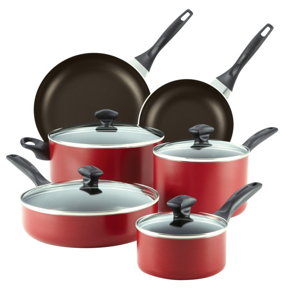 Farberware Dishwasher Safe Nonstick 14-piece Set in Red with $10 Mail-In Rebate