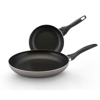 Farberware Dishwasher Safe Nonstick Twin Pack: 8-inch and 10-inch Open Shallow skillets, Champagne
