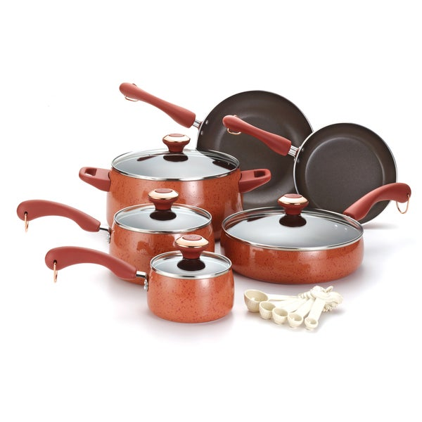 Paula Deen Signature Coral Speckle 15-piece Porcelain Cookware Set with $20 Mail in Rebate