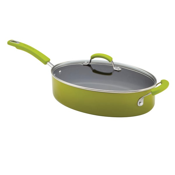 Rachael Ray Porcelain II 5-Quart Covered Green Saute Pan with Helper Handle