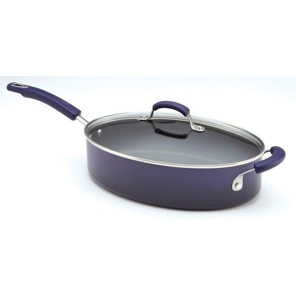 Rachael Ray Porcelain II 5-Quart Covered Purple Saute Pan with Helper Handle