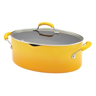Rachael Ray Porcelain II 8-Quart Yellow Gradient Covered Oval Pasta Pot with Pour Spout