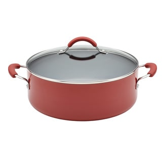 KitchenAid Aluminum 7.5-Quart Red Covered Wide Stockpot