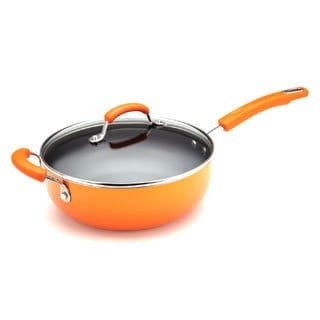 Rachael Ray Porcelain II 4.5-Quart Covered Chef Pan with Helper Handle