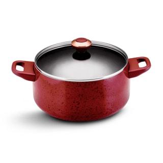 Paula Deen Signature Porcelain Nonstick Cookware 6-Quart Red Covered Stockpot
