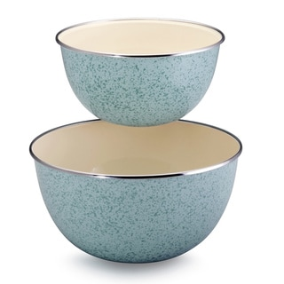 Paula Deen Signature Enamel on Steel 2-piece Mixing Set: 1.5-quart and 3-quart Mixing Bowl, Blue