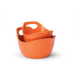 Rachael Ray Orange 2-piece Stoneware Mixing Bowls Set