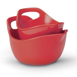 Rachael Ray Red Stoneware Mixing Bowl (Set of 2)