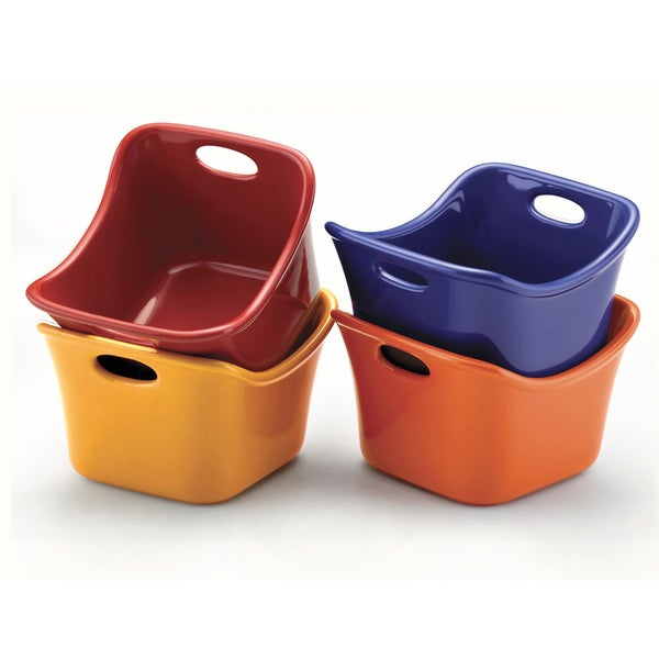 Rachael Ray Multi-Color Stoneware Square Ramekin (Set of 4) 10169152