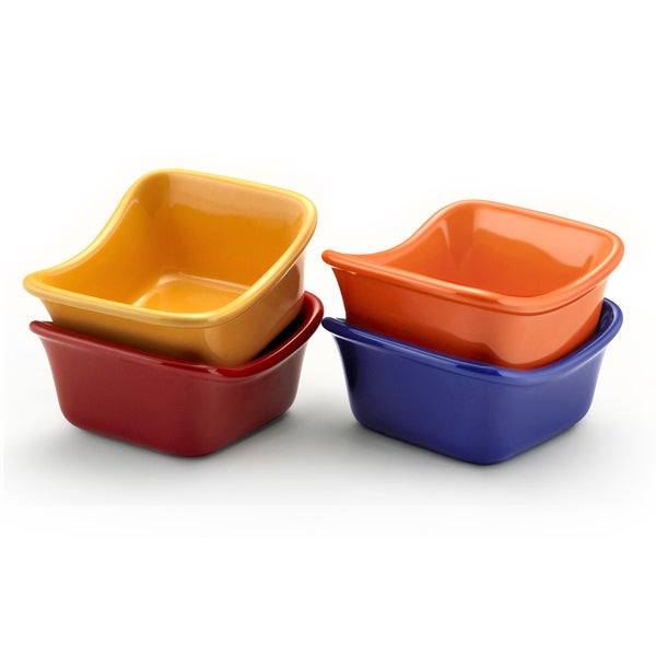 Rachael Ray Stoneware Lil' Saucy Squares 4-piece Set of 3-ounce Dipping Cups, Assorted Color Set 10169153